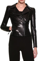 Giorgio Armani Lamb Leather Moto Jacket, Black
