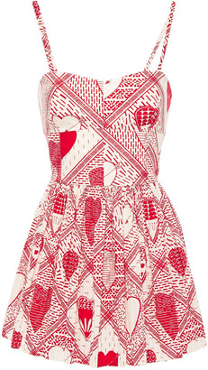 RED Valentino Flared Gathered Printed Cotton-poplin Playsuit