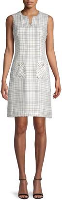 Karl Lagerfeld Paris Grid-Print Tweed Sheath Dress