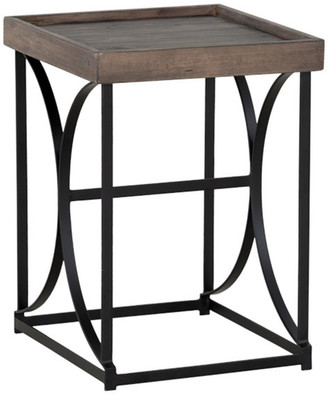 Cortesi Home Luxe End Table in Reclaimed Wood & Black Steel, Distresse