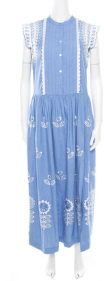 Temperley London Blue and White Embroidered Scallop Detail Maxi Dress M