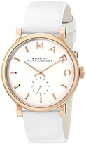 Marc by Marc Jacobs Women's MBM1283 Baker Rose-Tone Stainless Steel Watch with White Leather Band