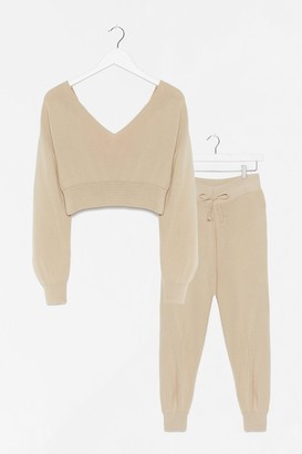 Nasty Gal Womens Namast'ay in Bed Knitted Jumper and Jogger Set - Beige - M