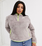 Nike Plus Gray Fleece With Contrast Neon Tipping