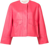 Marni collarless cropped jacket - women - Lamb Skin - 38