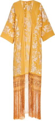Johanna Ortiz Antique Bronze Embroidered Silk Kimono