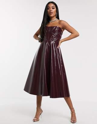 Asos Design DESIGN Premium corseted vinyl bandeau midi prom dress-Red