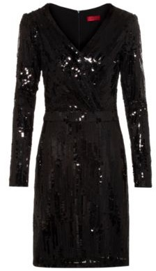 HUGO BOSS Long Sleeve Sequin Dress With Wrap Effect Front - Black