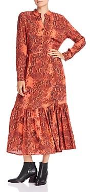 Monroe Notes du Nord Snakeskin Print Button Dress