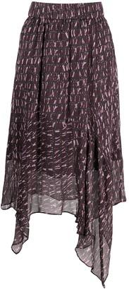 Etoile Isabel Marant Abstract-Print Asymmetric Skirt