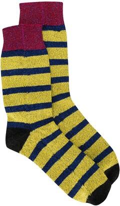 La DoubleJ Glitter-Effect Striped Socks