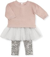 Miniclasix Metallic Knit Sweater w/ Leopard Tutu Leggings, Size 2-4