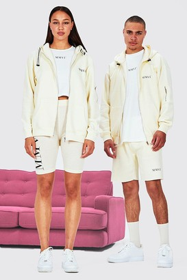 boohoo Mens Beige Hers Oversized Zip Hoodie Crop Top & Cycling Short, Beige