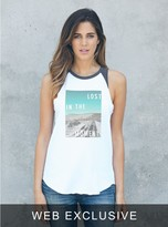 Junk Food Clothing Lost In The Moment Raglan Tank-electric White/jet Black-xs