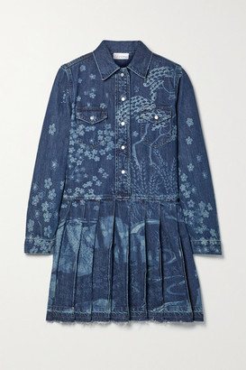 RED Valentino Frayed Pleated Printed Denim Mini Dress - Blue