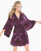 Soma Intimates Chiffon Kimono Robe Abstract Lines Merlot