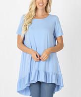 Lydiane Women's Tunics SPRING - Spring Blue Crewneck Short-Sleeve Ruffle-Hem Hi-Low Tunic - Women & Plus