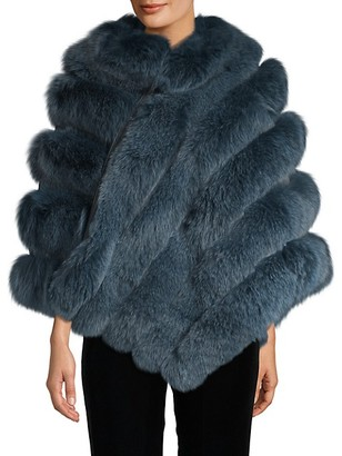 Belle Fare Dyed Fox Fur Asymmetric Poncho