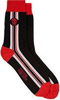 Alexander McQueen Men's Striped Cotton-Blend Mid-Calf Socks