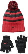 Nike Heather Stripe Beanie Gloves Set Beanies
