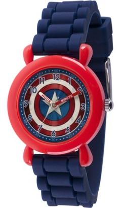 Marvel Avenger Assemble Captain America Boys' Red Plastic Time Teacher Watch, Blue Silicone Strap
