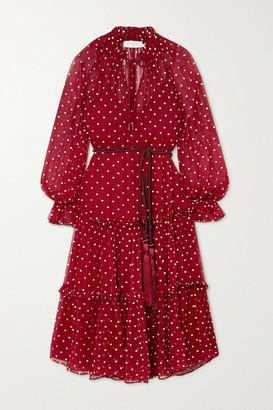 Zimmermann Ladybeetle Belted Ruffled Polka-dot Silk-chiffon Midi Dress - Burgundy