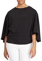 Lauren Ralph Lauren Plus Crepe Bell-Sleeve Cropped Top