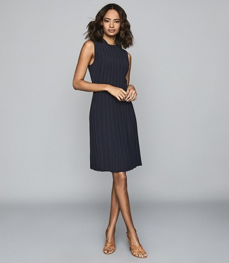 Reiss LINNEA PLEATED SLEEVELESS MINI DRESS Navy