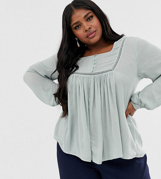 Asos DESIGN Curve smock top with button front detail in crinkle