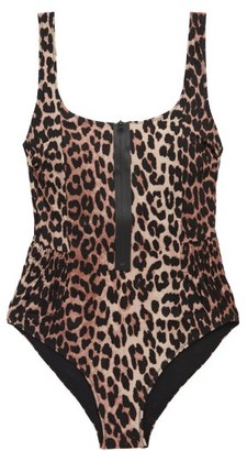 Ganni Zipped Low-back Leopard-print Swimsuit - Leopard