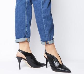 Office Marathon High Vamp Slingback Heels Black Groucho Leather