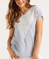 Suzanne Betro Weekend Women's Tunics 101BLUE/WHITE - Blue & White Chevron V-Neck Tee - Women & Plus
