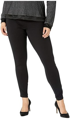 Hue Plus Size Metallic Racer Stripe Ponte Leggings (Black) Women's Casual Pants
