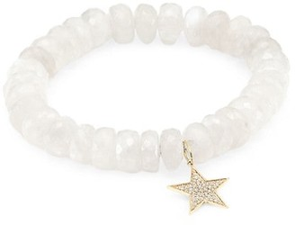 Sydney Evan 14K Yellow Gold, White Moonstone & Diamond Star Charm Beaded Bracelet