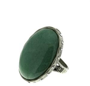 T.r.u. by 1928 Semi-Precious Green Aventurine Ring with Side Accent Swarovski Crystals