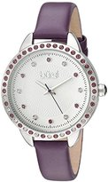 Burgi Women's Genuine Swarovski Crystal Accented White Dial and Silver-Tone Bezel with Purple Genuine Leather Strap Watch BUR161PU
