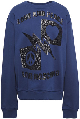 Love Moschino Sequin-embellished Melange French Cotton-terry Sweatshirt