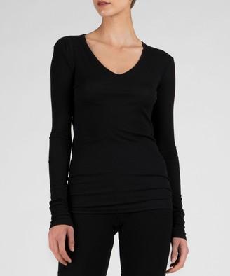 Atm Modal Rib Long Sleeve V-Neck Tee - Black
