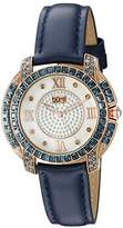 Burgi Women's BUR156BU Rose Gold Quartz Watch With Diamond Mother of Pearl Swarovski Crystal Accented Dial & Bezel With Blue Leather Strap