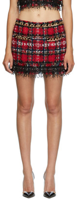 Balmain Multicolor Tweed Tartan Miniskirt