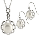 Splendid Pearls Rhodium Plated 9-11Mm Pearl & Cz Necklace & Earrings Set
