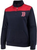 Majestic Women's Navy Boston Red Sox Plus Size Sequin Wordmark Quarter-Zip Pullover Jacket