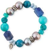 Stephen Dweck Multi-Stone & Baroque Pearl Stretch Bracelet, Blue