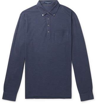 Peter Millar Button-Down Collar Melange Silk And Cotton-Blend Polo Shirt