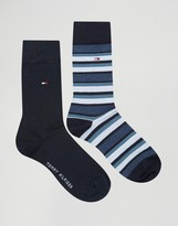 Tommy Hilfiger Classic Stripe 2 Pack Socks In Navy