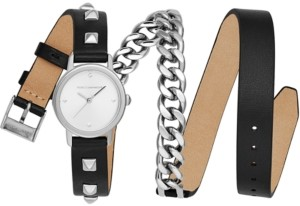 Rebecca Minkoff Women's Bffl Stainless Steel Chain & Black Leather Triple Wrap Strap Watch 25mm