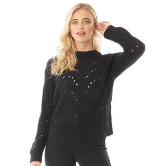 Fluid Womens Hole Pattern Knit Sweater Black