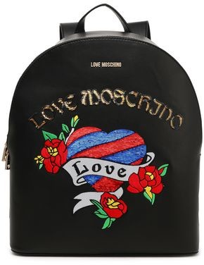 Love Moschino Sequin-embellished Appliqued Faux Leather Backpack