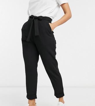 Asos DESIGN Petite Woven Peg Trousers with Obi Tie-Black