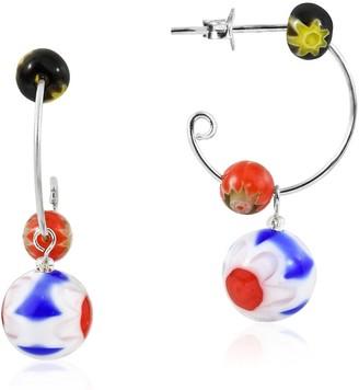 Aeravida Handmade Red White Blue Millefiori Glass Beads on Sterling Silver Half Hoop Earrings